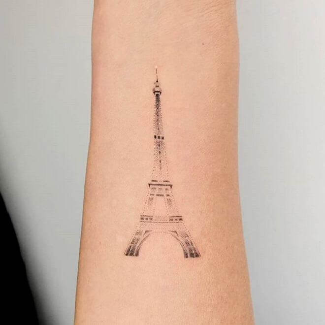Eiffel Tower Dot Work Tattoo