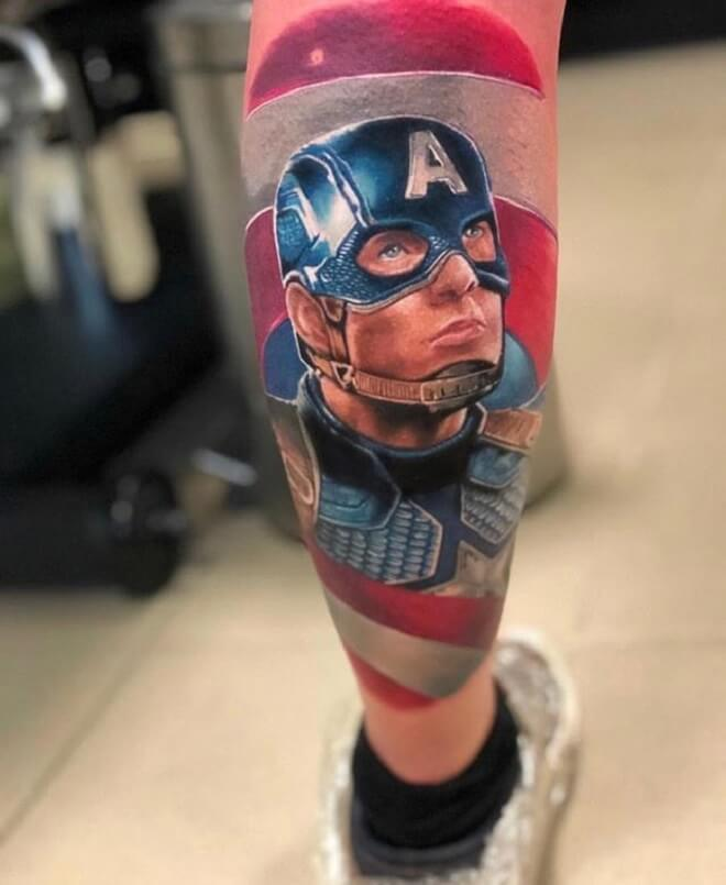 Face Captain America Tattoo