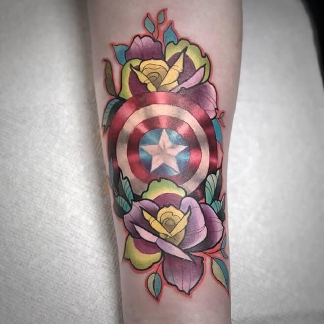 Flower Captain America Tattoo