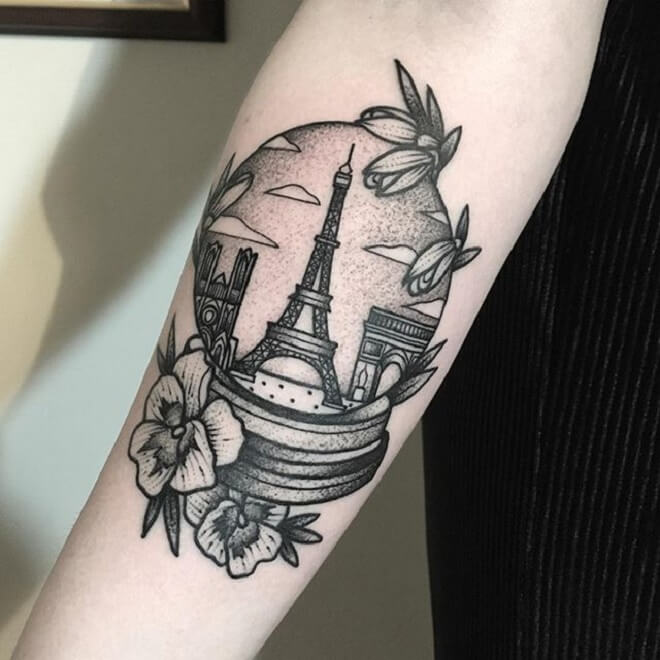 Flower Eiffel Tower Tattoo