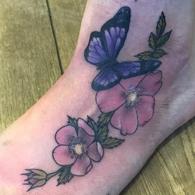 Flower Purple Butterfly Tattoo