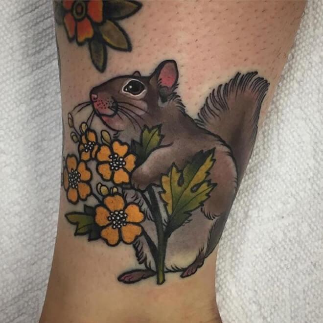 Flower Squirrel Tattoo