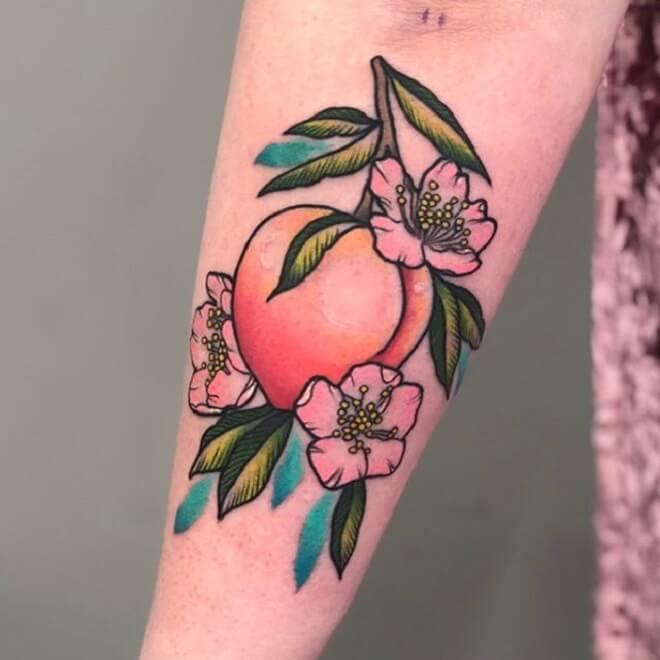 Girl Peach Tattoo