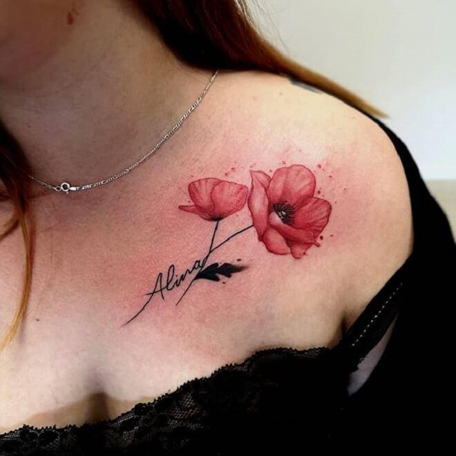 Girl Poppy Tattoo
