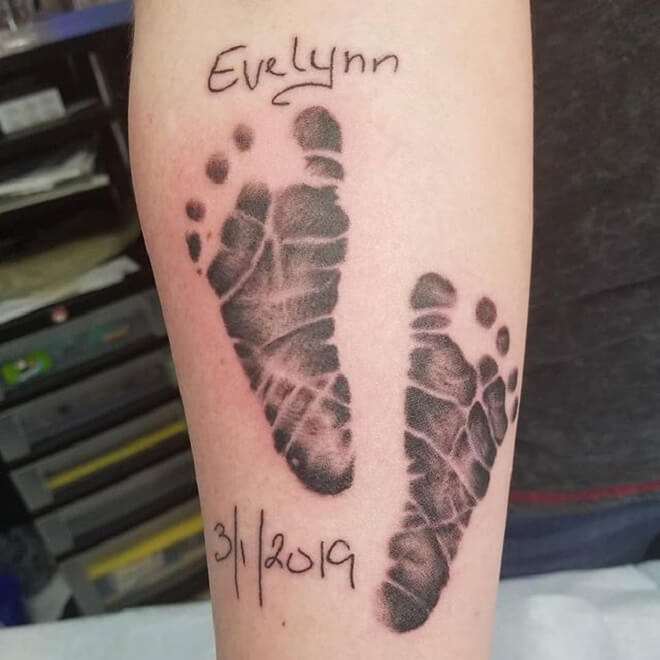 Grey Footprint Tattoo