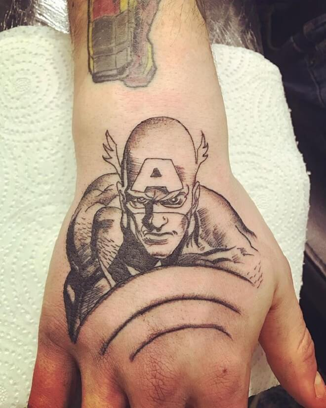 Hand Captain America Tattoo