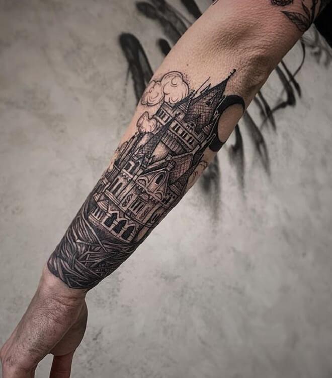 Hand Castle Tattoo