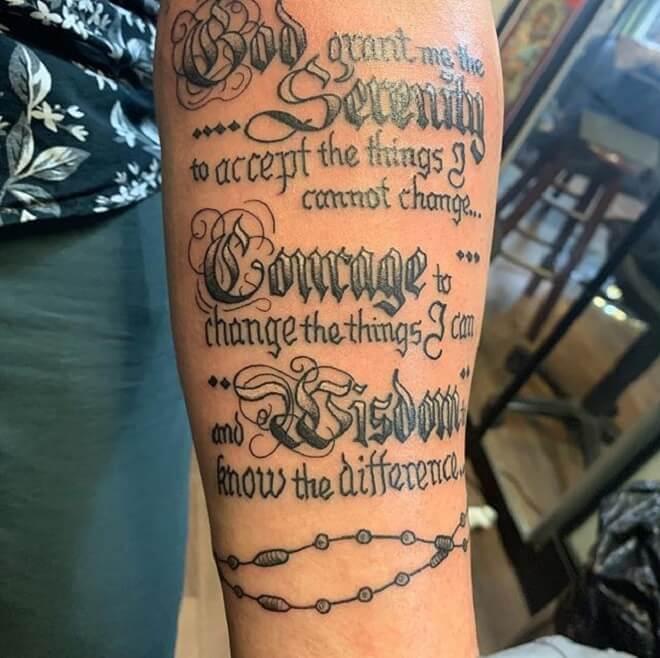 Hand Serenity Prayer Tattoo