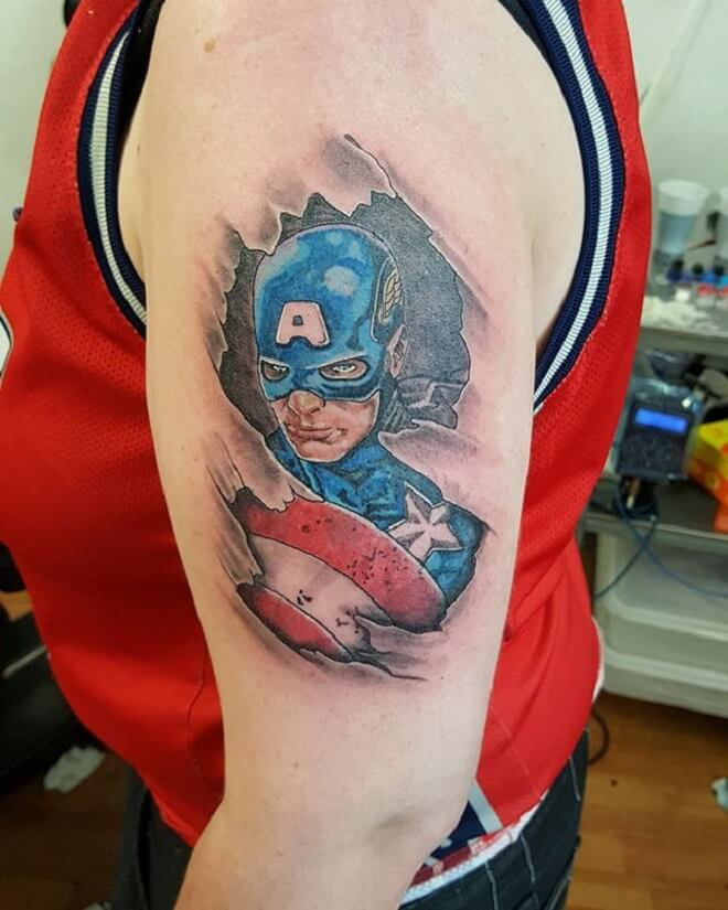 Hand Superhero Tattoo