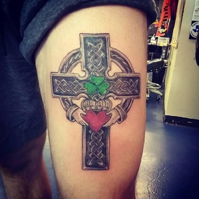 Heart Celtic Cross Tattoo