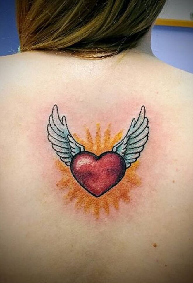 Lady Heart with Wings Tattoo