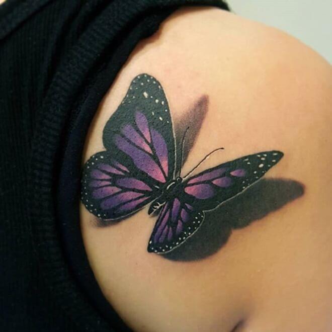 Lady Purple Butterfly Tattoo