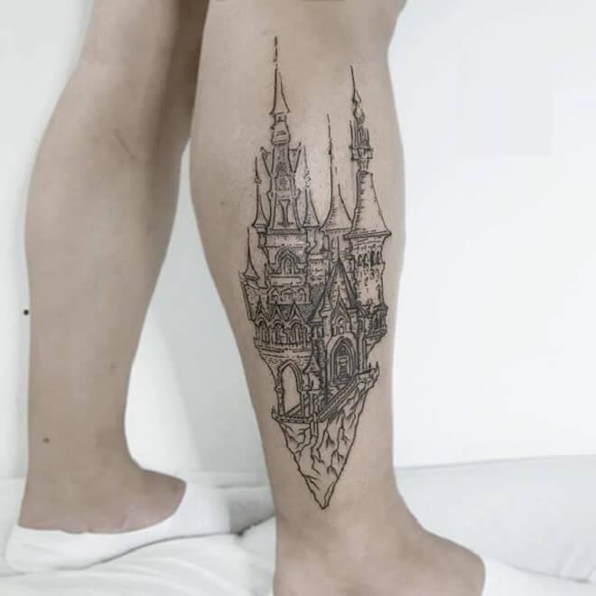 Leg Castle Tattoo
