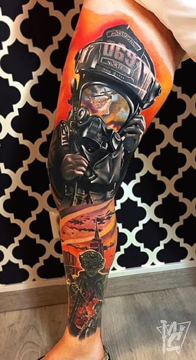 Leg Firefighter Tattoo