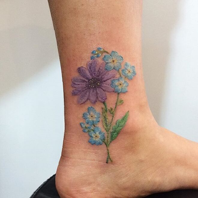 Leg Forget Me Not Tattoo