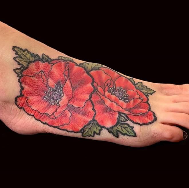 Leg Poppy Tattoo