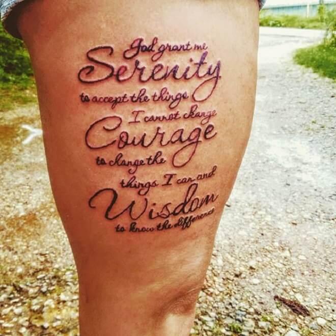 Leg Serenity Prayer Tattoo