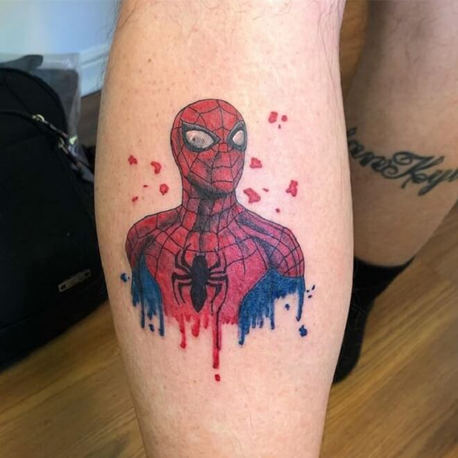 Leg Spider Man Tattoo