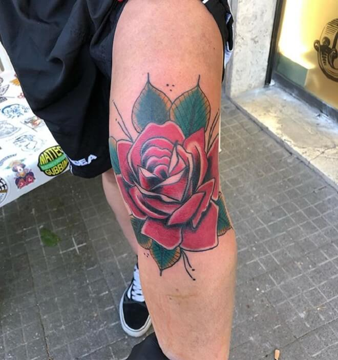 Leg Traditional Rose Tattoo