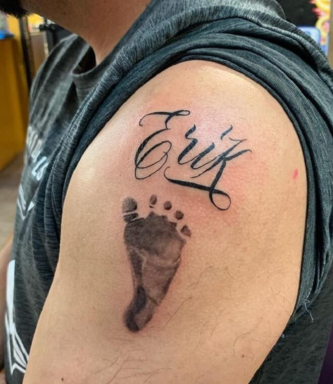 Lettering Footprint Tattoo
