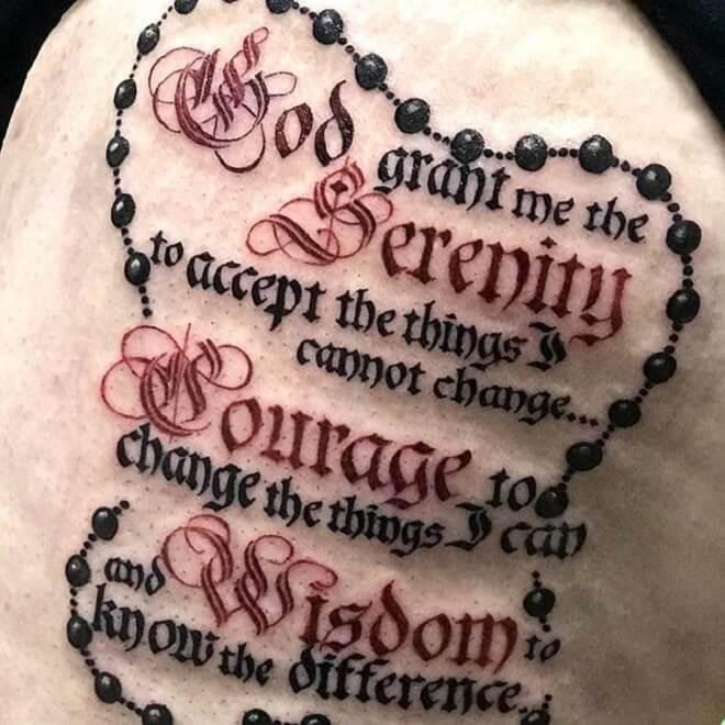 Lettering Serenity Prayer Tattoo