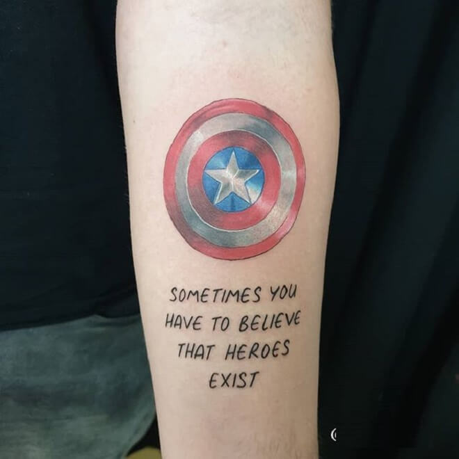 Letters Captain America Tattoo