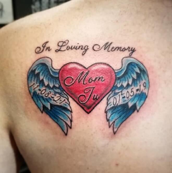 Letters Heart with Wings Tattoo