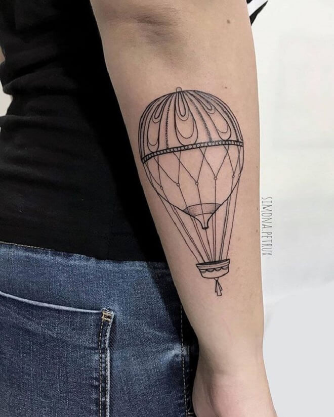 Line Hot Air Balloon Tattoo