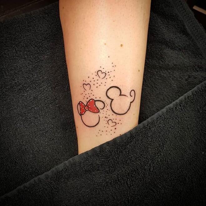 Line Minnie Mouse Tattoo