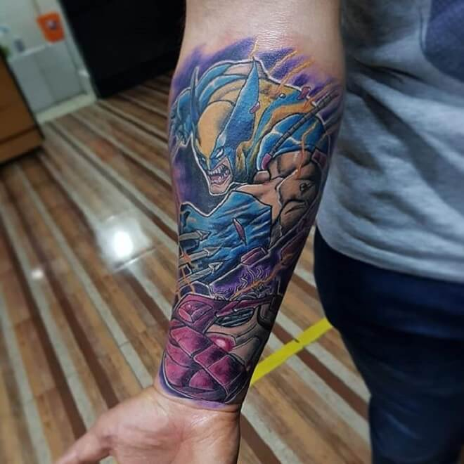 Men Hand Wolverine Tattoo