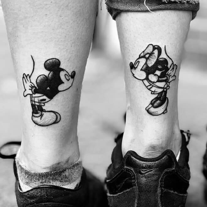Minnie Mouse Black Work Tattoo