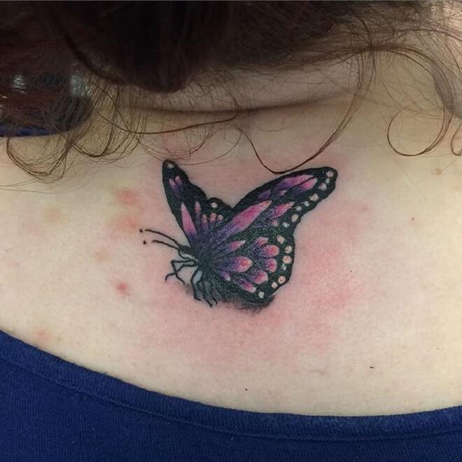 Neck Purple Butterfly Tattoo
