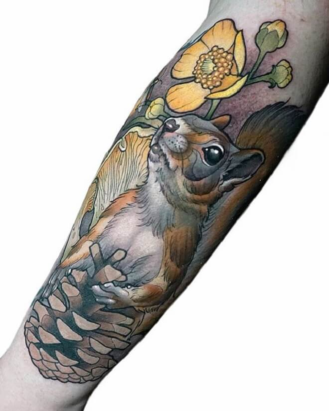 Neo Traditional Squirrel Tattoo