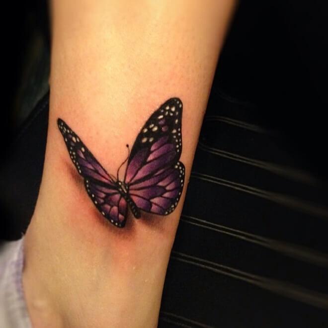 Popular Purple Butterfly Tattoo