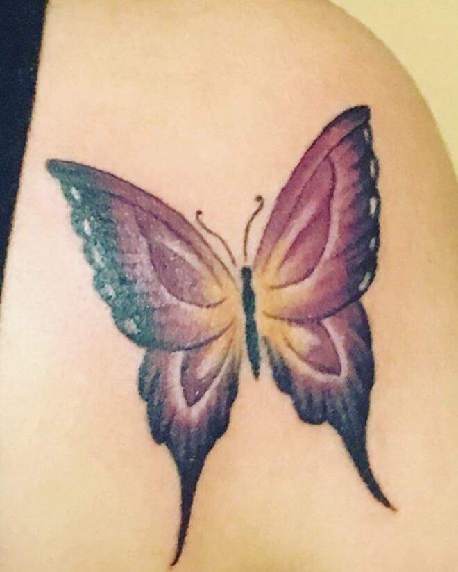 Purple Butterfly Tattoo Art