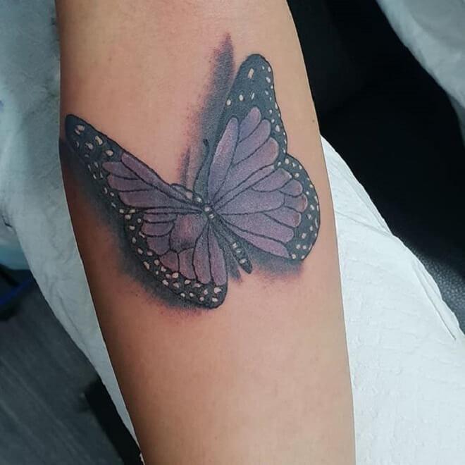 Purple Butterfly Tattoo Artist