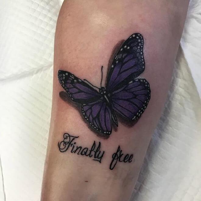 Purple Butterfly Tattoo Style