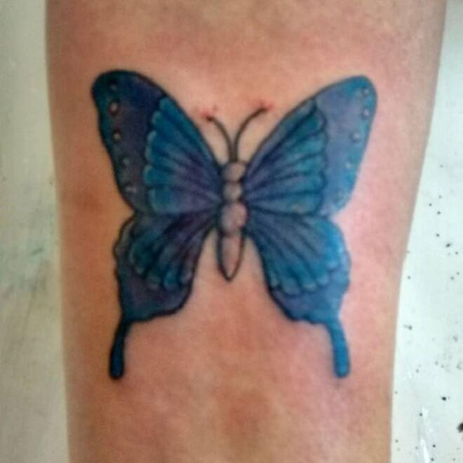 Purple Butterfly Women Tattoo