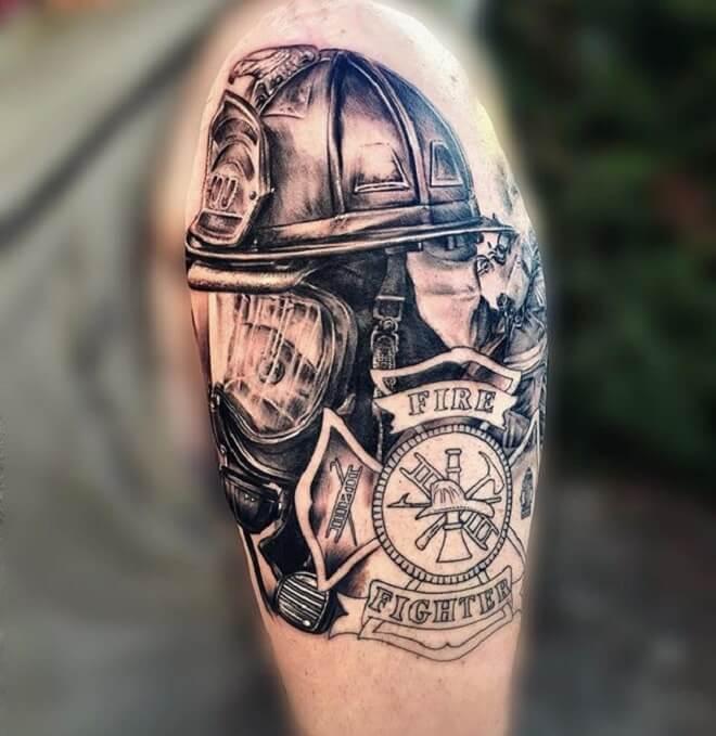 Realistic Firefighter Tattoo