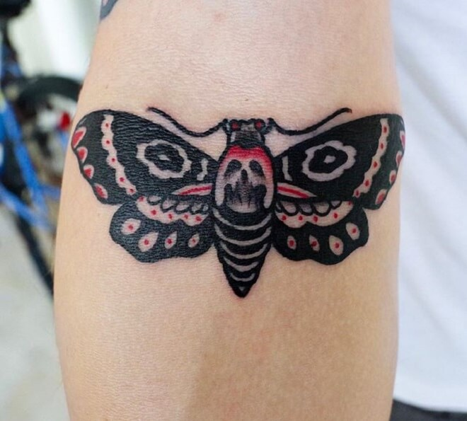 Red and Black Death Moth Tattoo