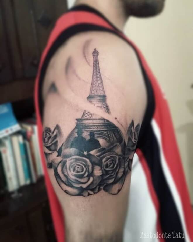 Rose Eiffel Tower Tattoo