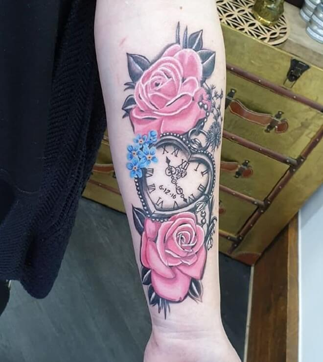 Rose Forget Me Not Tattoo
