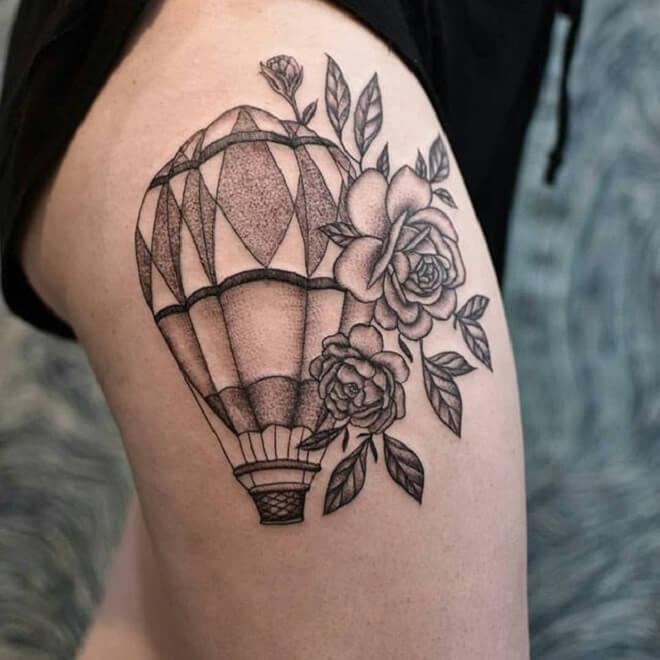 Rose Hot Air Balloon Tattoo