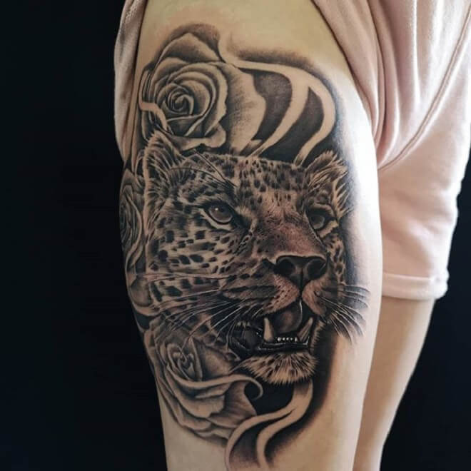 Rose Leopard Tattoo