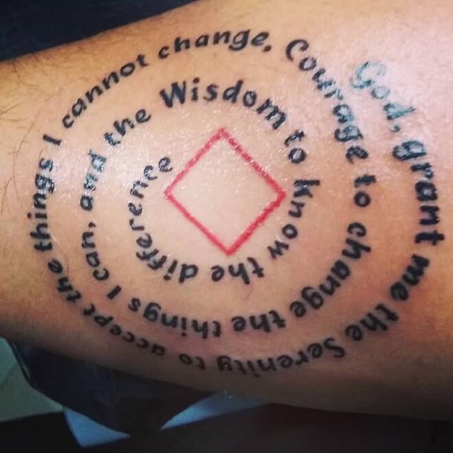 Round Serenity Prayer Tattoo