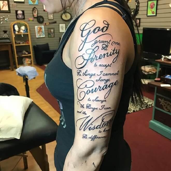 Serenity Prayer Tattoo for Women