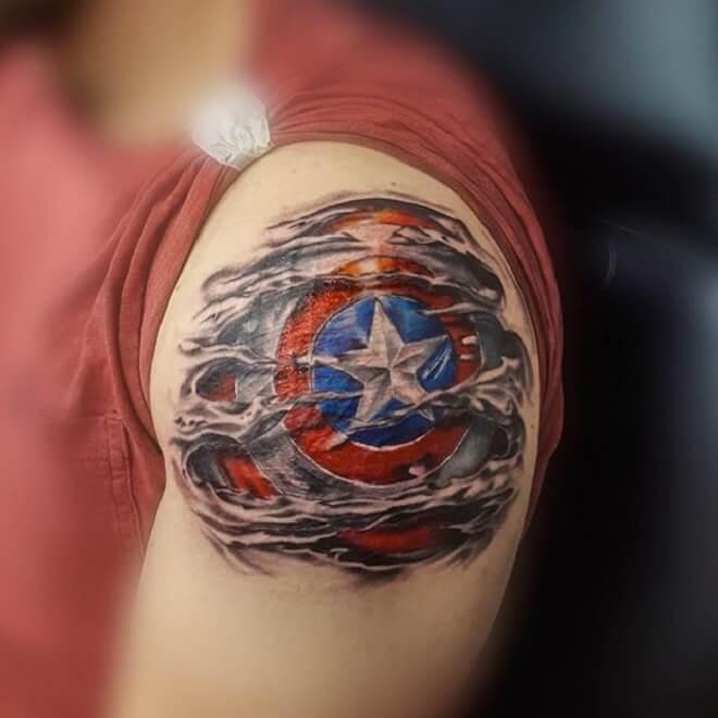 Shoulder Captain America Tattoo