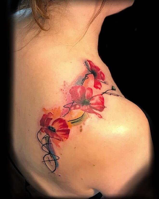 Shoulder Poppy Tattoo