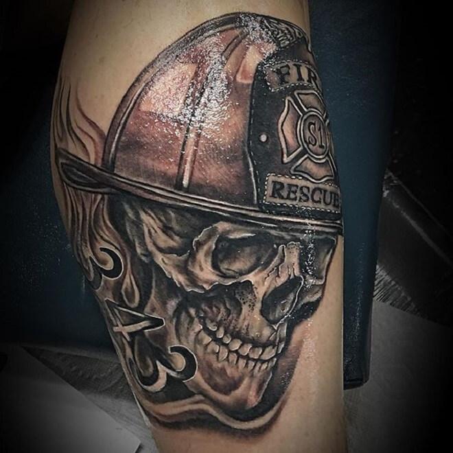 Skull Firefighter Tattoo