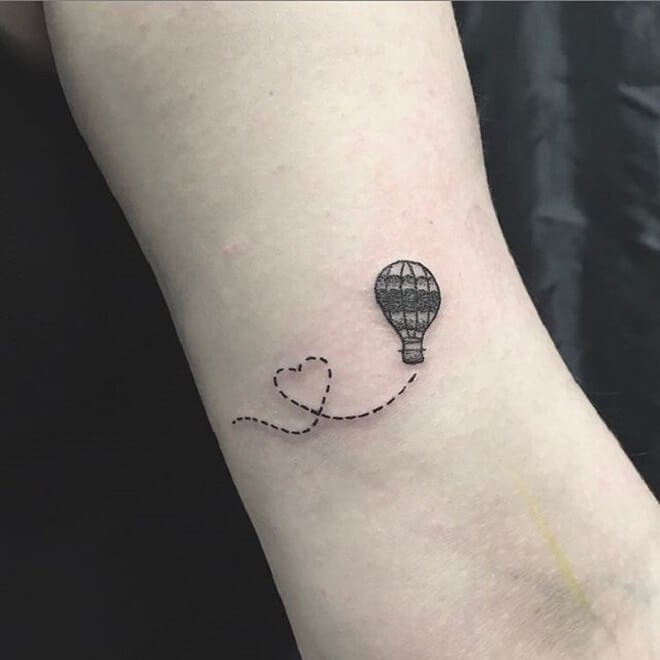 Small Hot Air Balloon Tattoo